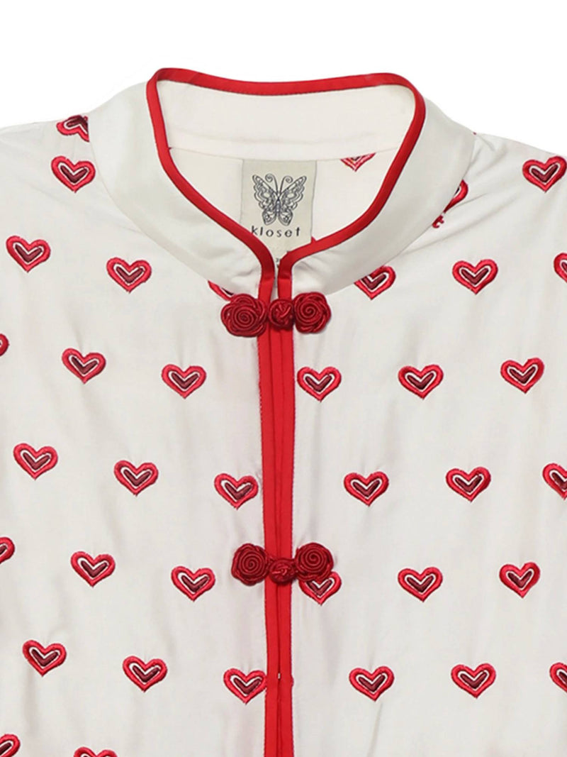【KLOSETPRE】Chinese Heart Embroidered Top