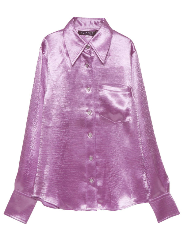 【CHANCE】FITTED SATIN SHIRT