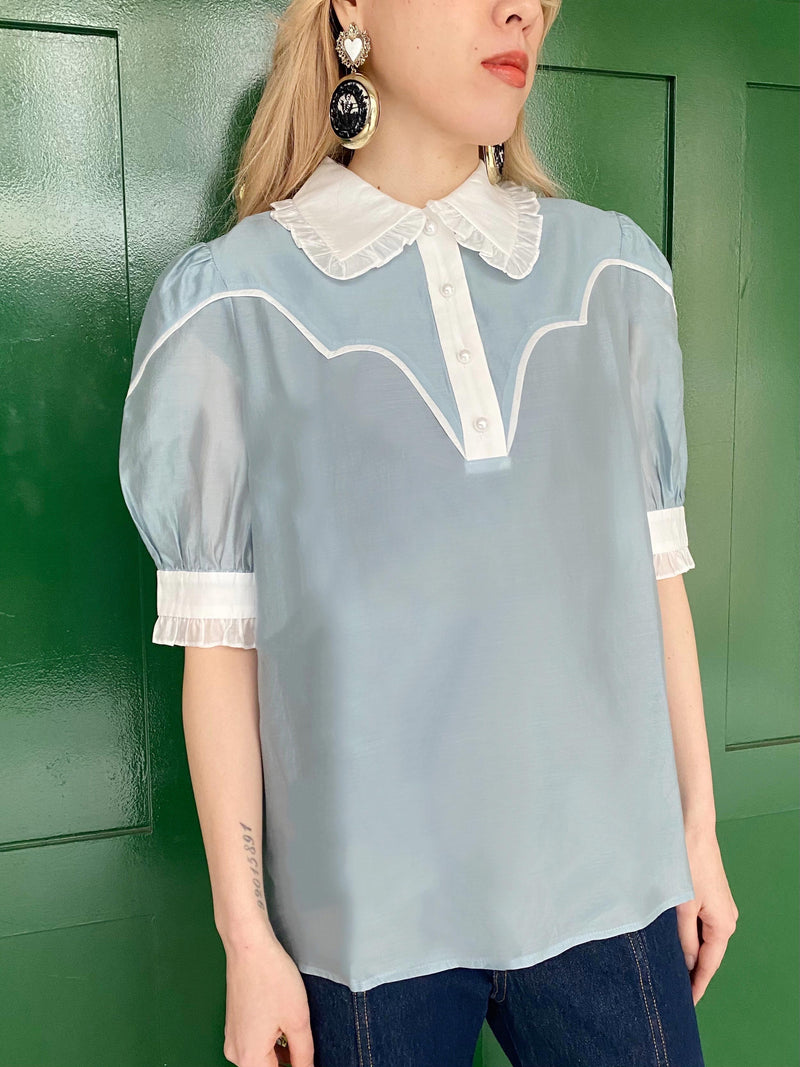 【KLOSETPRE】Puffed Sleeve with Ruffles Top