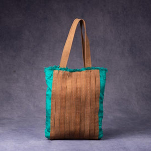 Silk & Leather Strips Bag