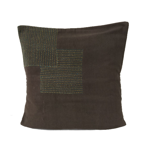 Run Stitched Cushion Cover - Block Design