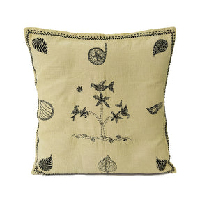 Hand Embroidered Cushion Cover - Bird on Tree Design
