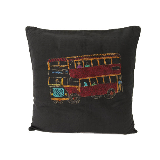Double Decker Bus Design Cushion Cover