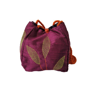 Long Silk Batua Bag-Leaf Design
