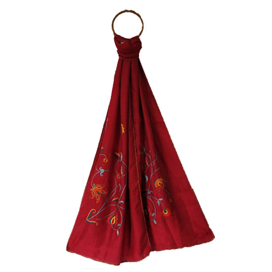 Hand Embroidered Silk Stole - Flower Design