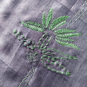 Hand Embroidered Silk Reversible Stole - BambooTree Design