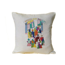 Load image into Gallery viewer, Hand Embroidered Cushion Cover - Book Fair Design