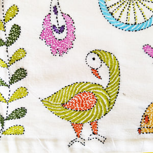 Hand Embroidered Cushion Cover - Cycle Design