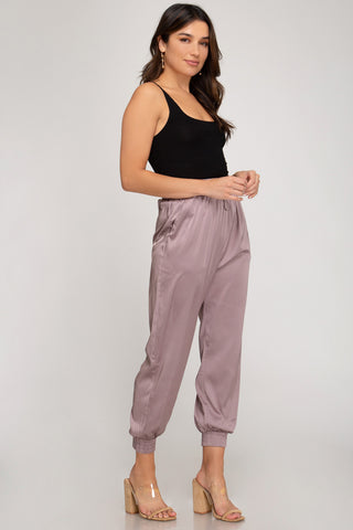 Angelique Satin Jogger - Misty Mauve