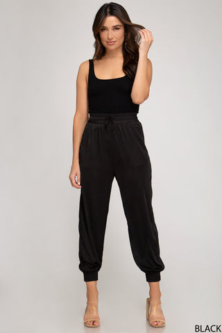 Angelique Satin Joggers- Black