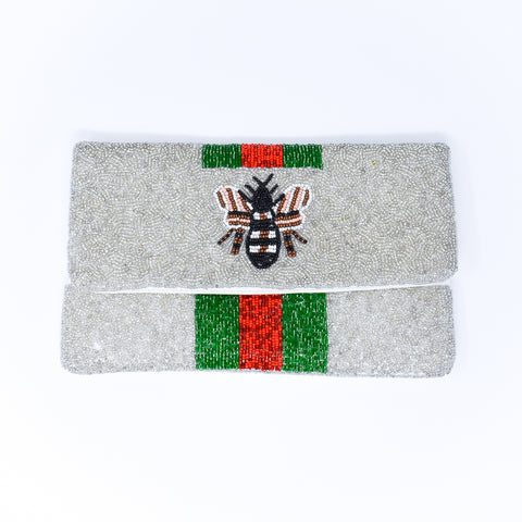 Bee Designer Inspired Silver, Red, and Green Clutch