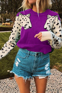 Sasha Sweater with Leopard arms Purple