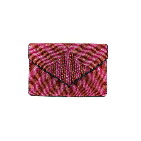 Red & Fuchsia Chevron Clutch