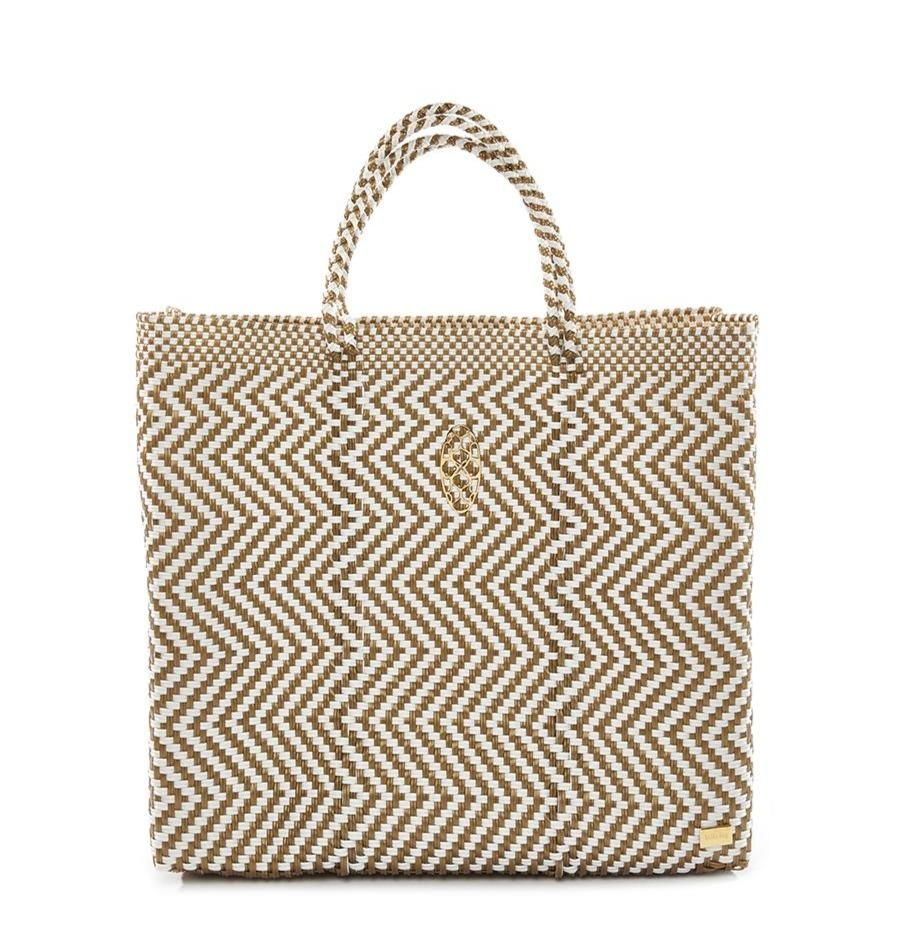 Lola's Medium Chevron Tote, Gold