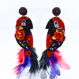 Large Macaw Feather Bead Earrings