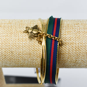Triple Bangle with Gold Bee