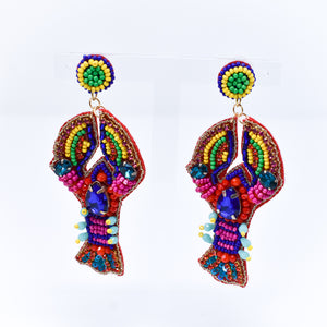 Lobster Multi-color Jeweled Earrings