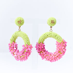 Lime Seed Bead Flower Earrings