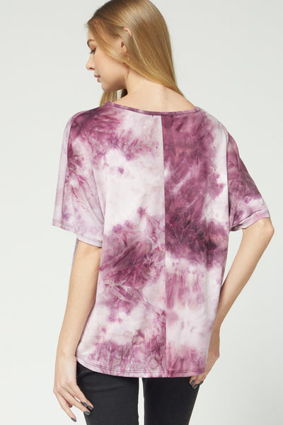 Linda Tie-Dye Top -Berry