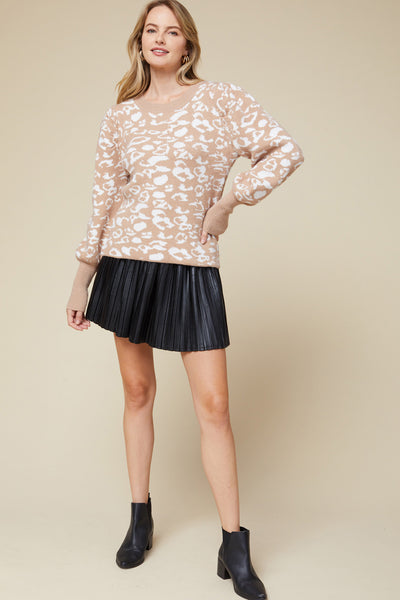 Sara Leopard Puff Sleeve Sweater