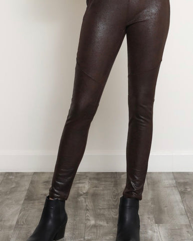 Vegan Brown leather leggings.