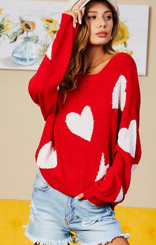 Red Hearts & Bolts Sweater
