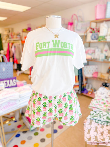 Fort Worth T-Shirt, Lime & Pink