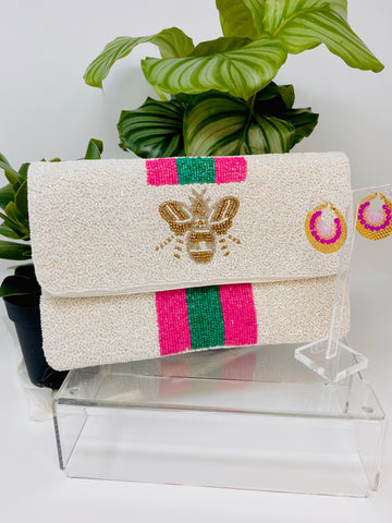 Bumblebee White Designer Inspired Mini Clutch Hot Pink & Green