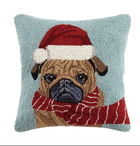 Chilly Pug Christmas Pillow