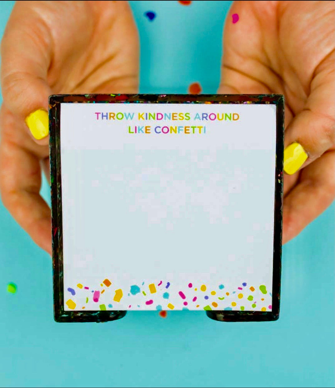 Confetti Sticky Note Holder, with pad