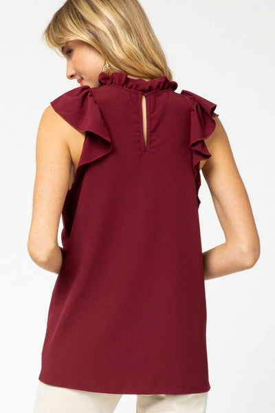 Emma Ruffle Top Burgundy