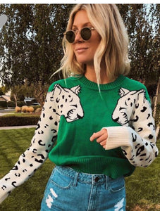 Sasha Leopard Sleeve Sweater Kelly Green