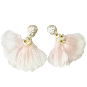 A Pearl Earring with mini white flowers cascading down to blush pink and white ombre petals