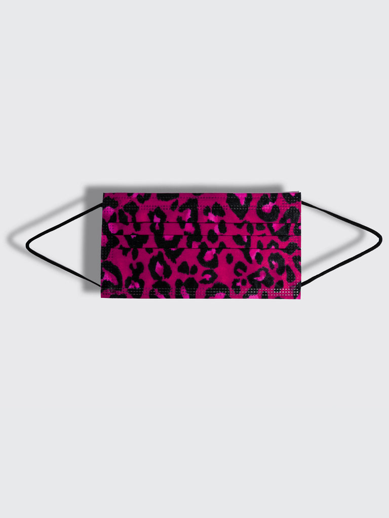 barriere disposable medical masks in pink and black leopard animal print