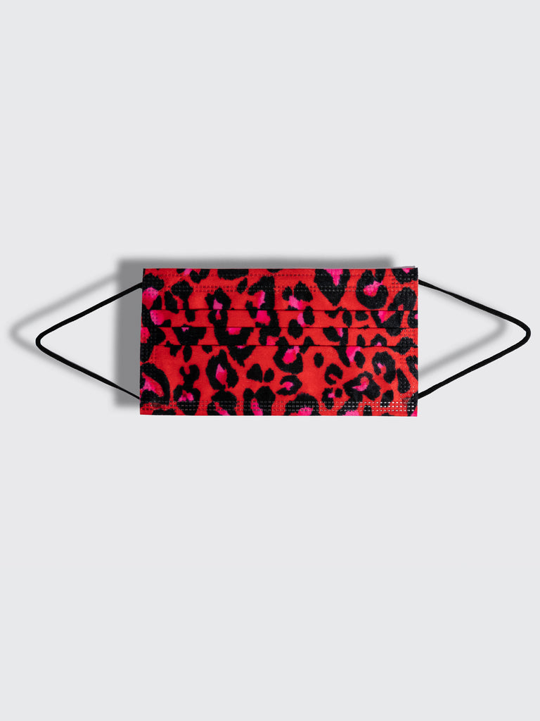 barriere disposable medical masks in red pink and black leopard animal print