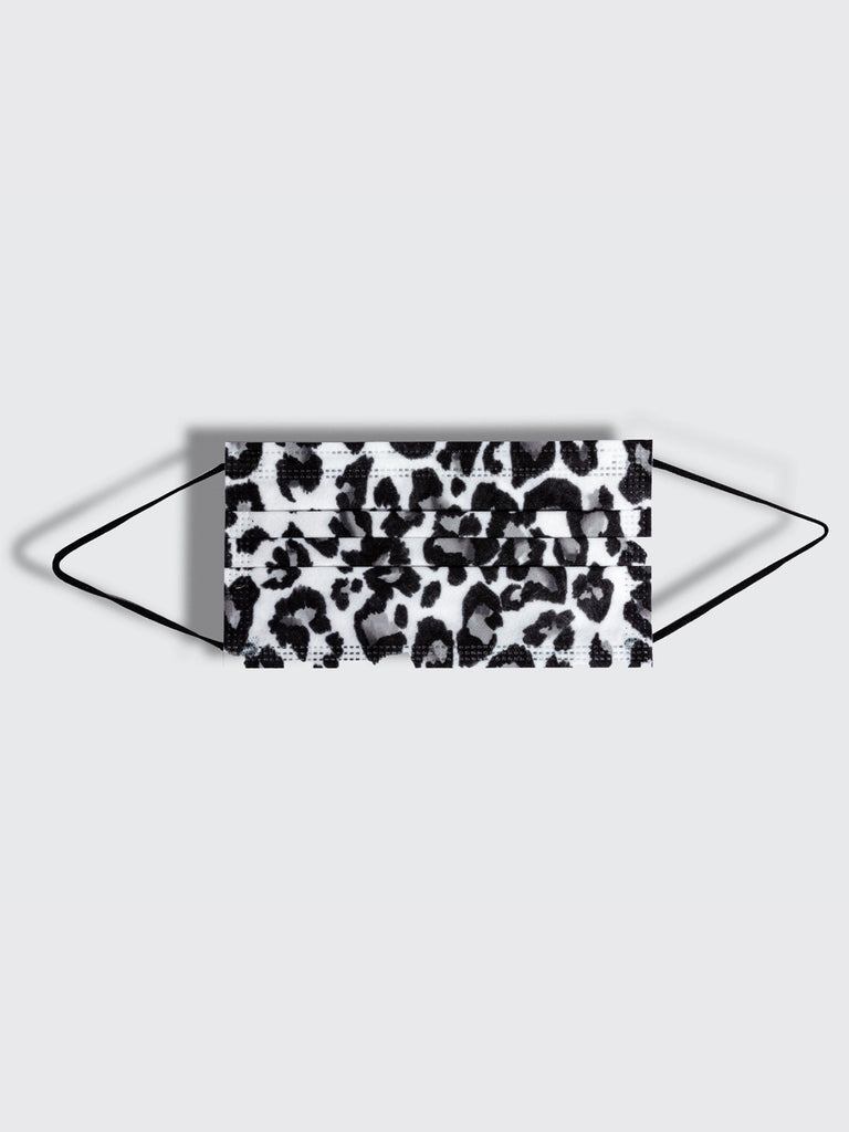 barriere disposable medical mask in white grey and black leopard animal print