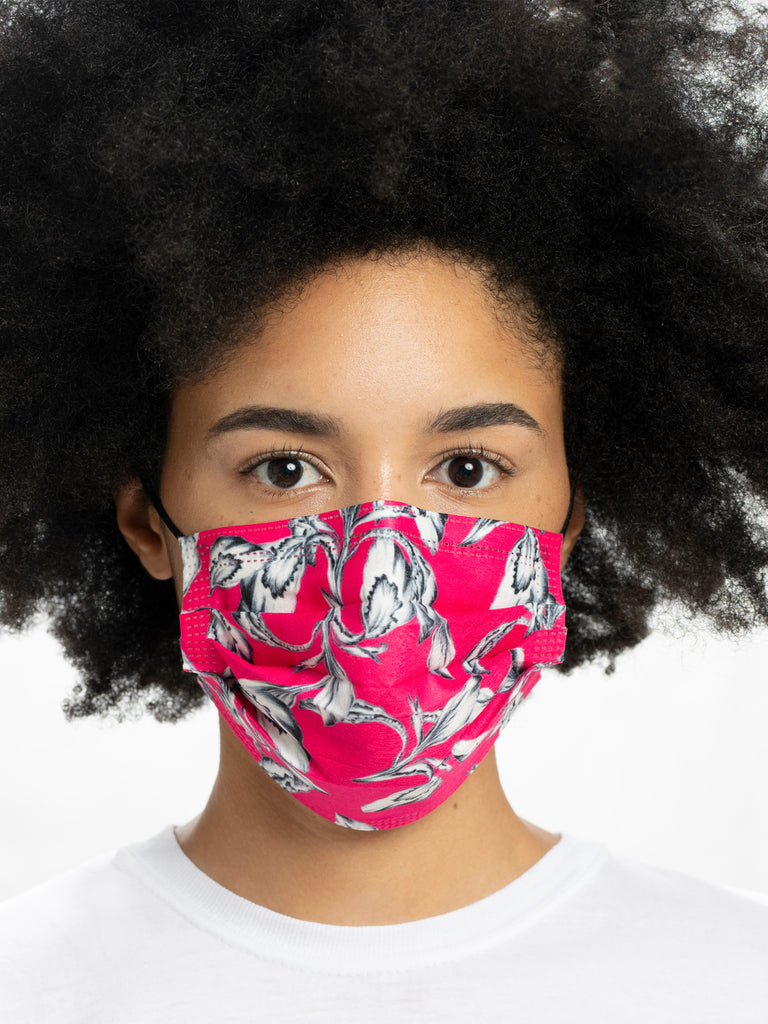 barrière unisex disposable medical masks in fuchsia iris floral print