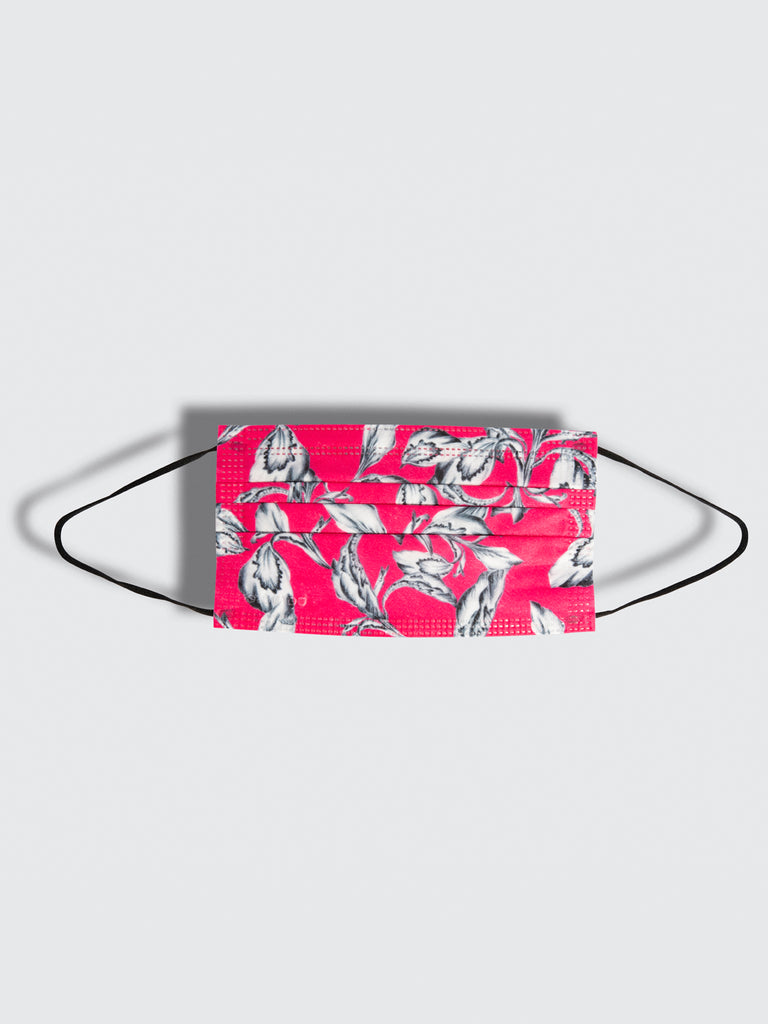 premium disposable medical masks in pink floral printbarrière unisex disposable medical masks in fuchsia iris floral print