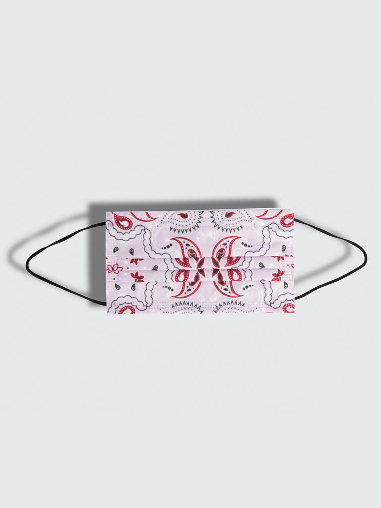 premium disposable medical masks in lavender multicolor paisley bandana print