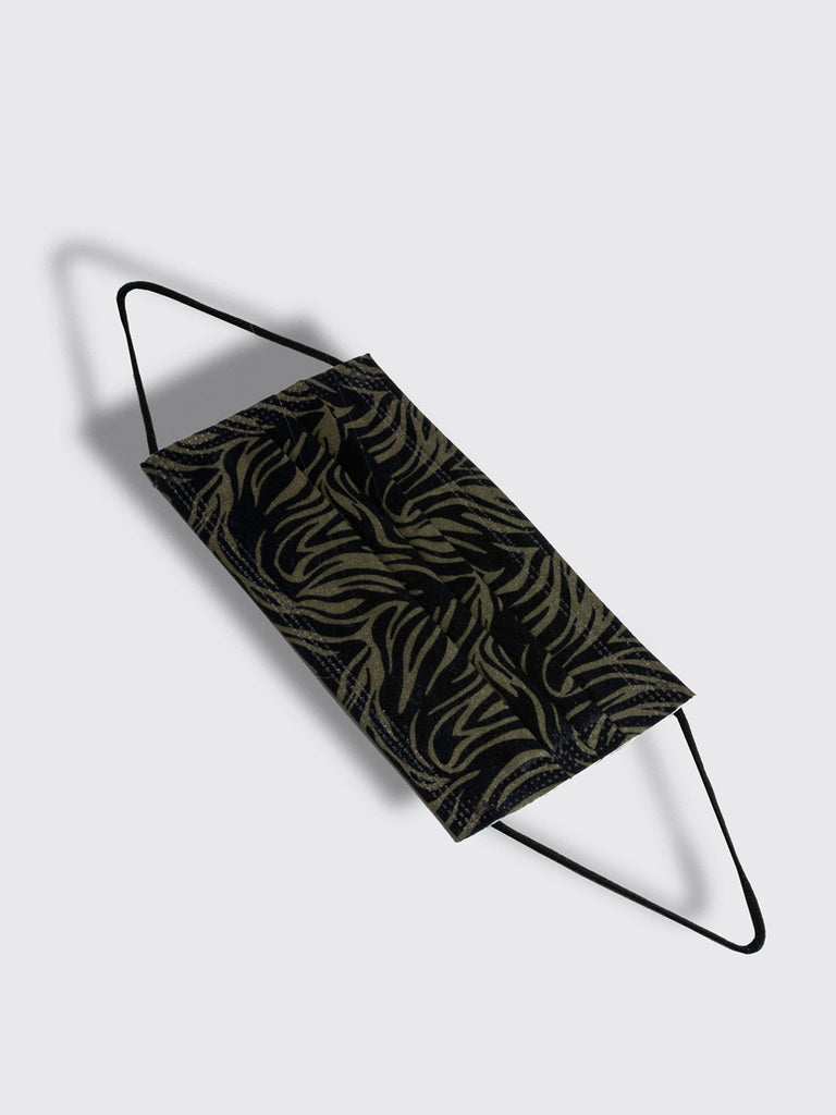 barriere premium disposable medical mask in army green and zebra pattern