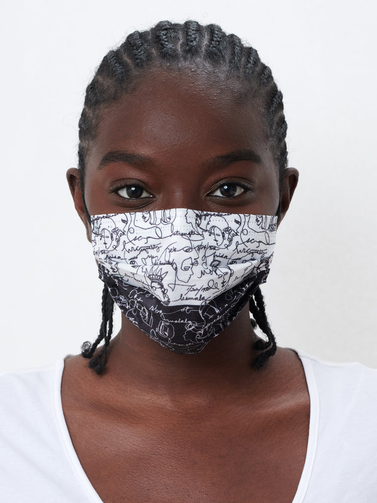 barrière unisex disposable medical masks in black and white sketch and black basketweave