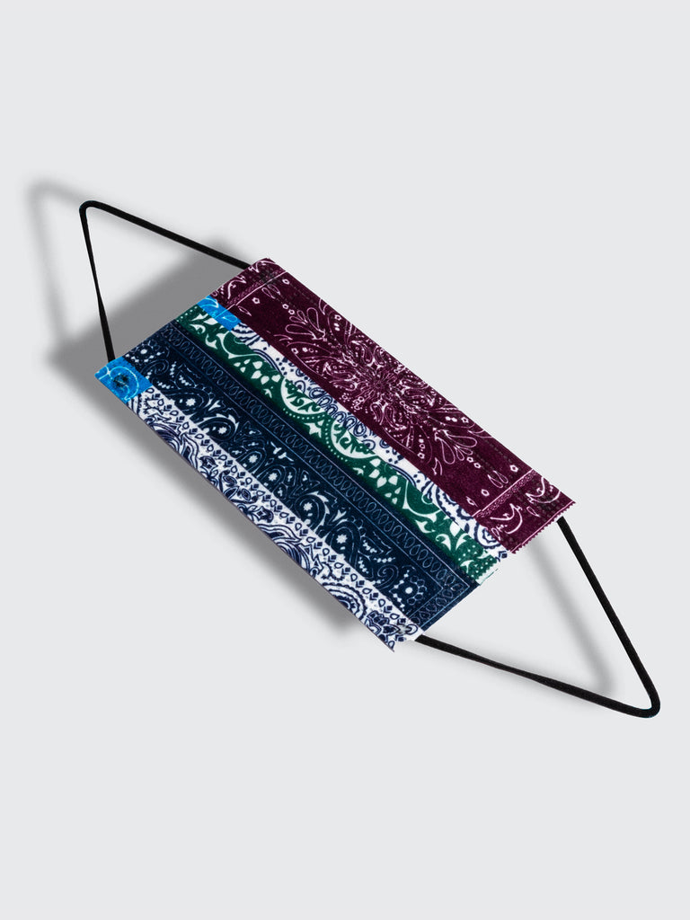barriere disposable medical masks in navy white green and burgundy bandana paisley print