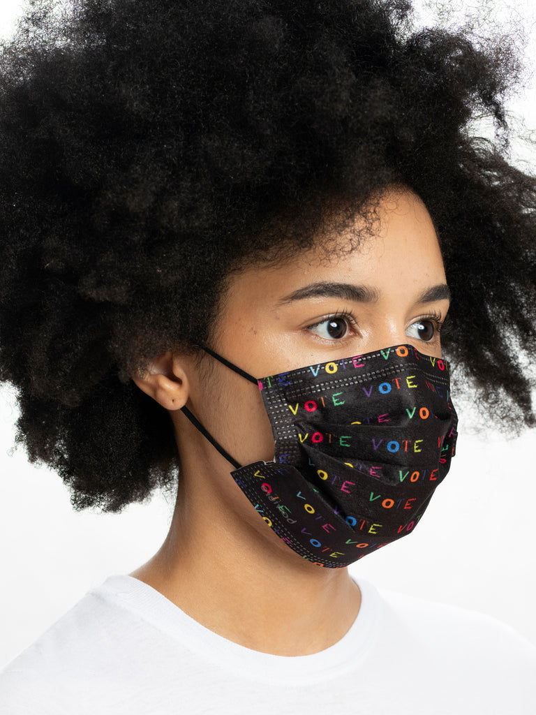premium disposable medical masks in multicolor VOTE print on black , 50% give back to I am VOTER