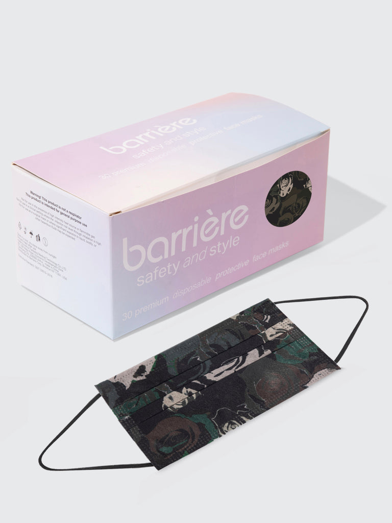 barrière unisex disposable medical masks in army green rose camoflage print 30 pack box