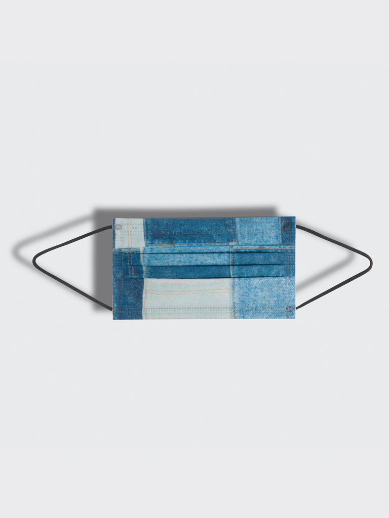 barrière unisex disposable medical masks in blue denim patchwork print