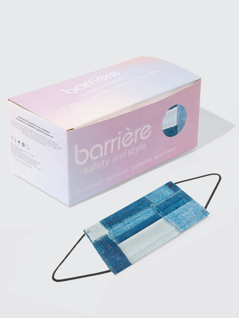 barrière unisex medical disposable face mask in blue denim patchwork