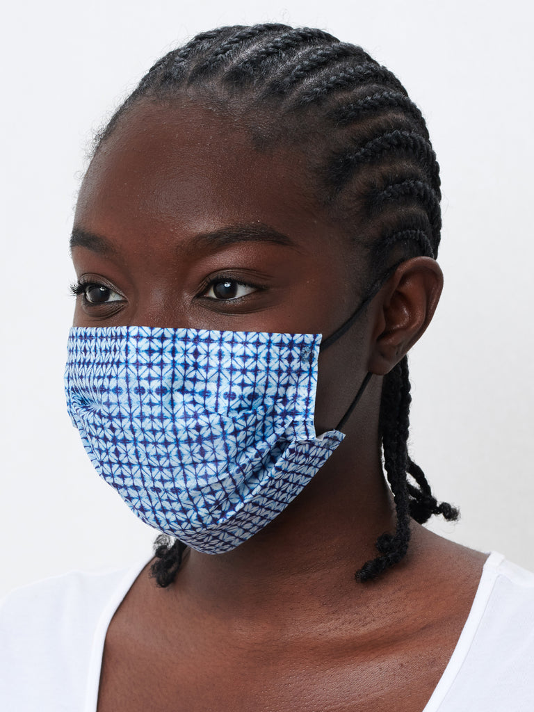 barriere unisex premium disposable medical masks in navy shibori print