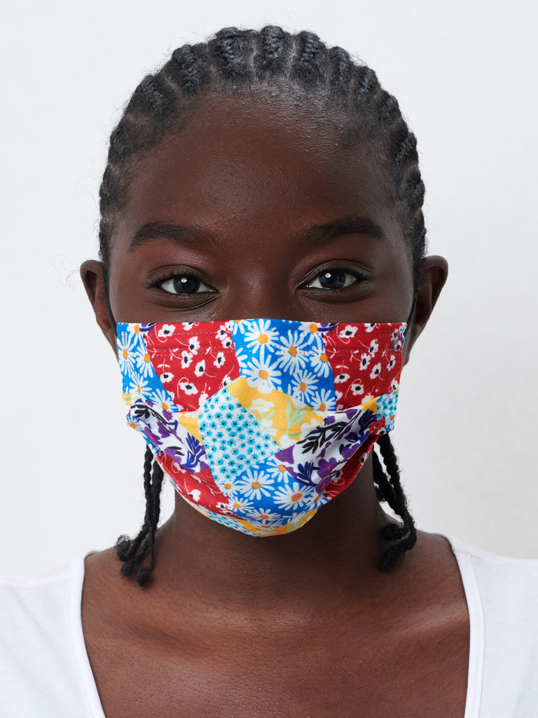 barrière unisex disposable sustainable medical grade masks in multicolor Floral Collage print