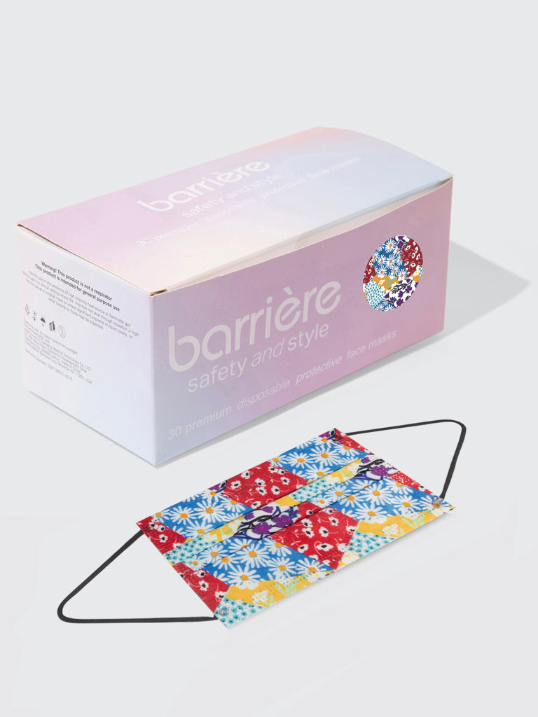barrière 30 piece box of unisex disposable sustainable medical masks in multicolor floral collage print
