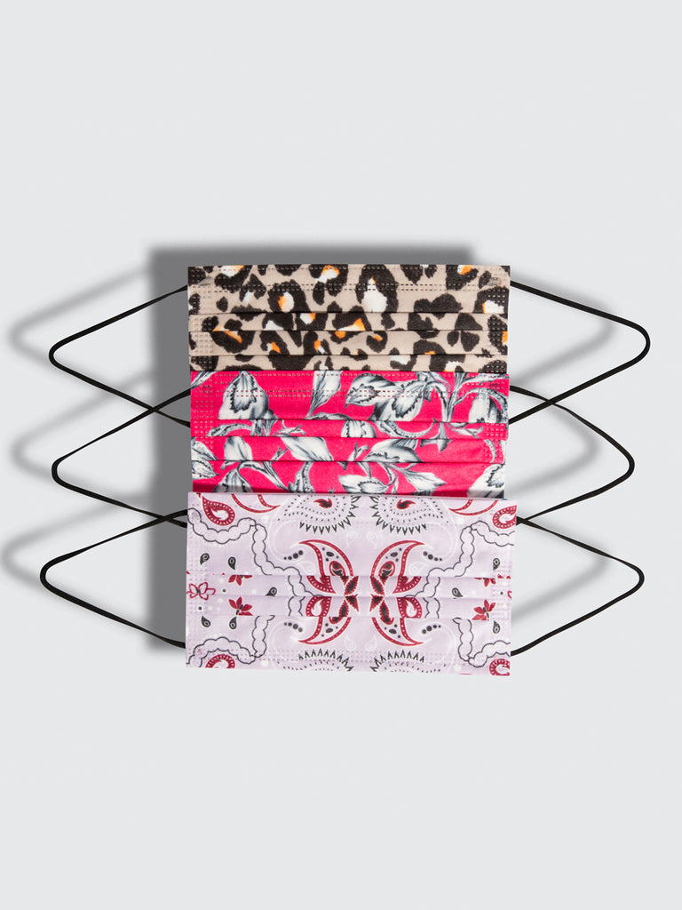 premium disposable medical masks in a variety pack featuring leopard floral and paisley prints